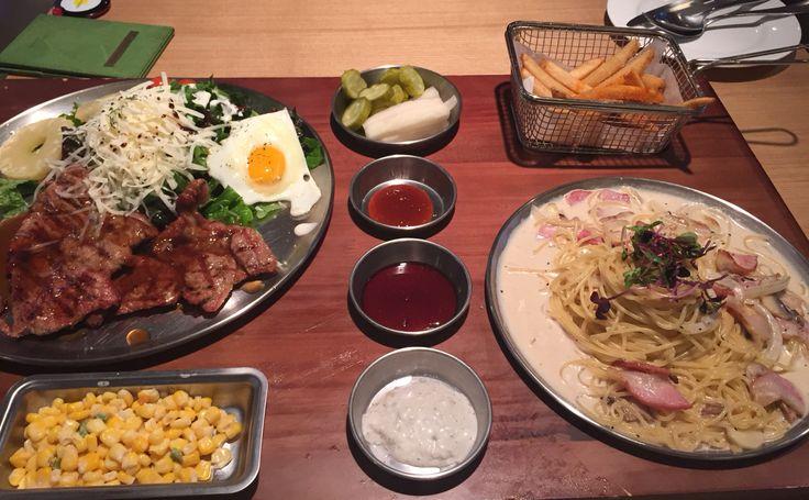steak and cream pasta in Seoga & cook