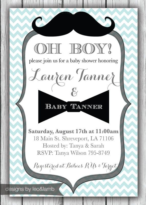 Exceptional Mustache And Bow Tie Baby Shower Invitations Part - 2: Baby Shower Invitation For A Boy - Mustache U0026 Bow Tie Themed - Printable  File On