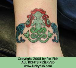 celtic..mermaid tattoo by Pat Fish  the luckyfish.com