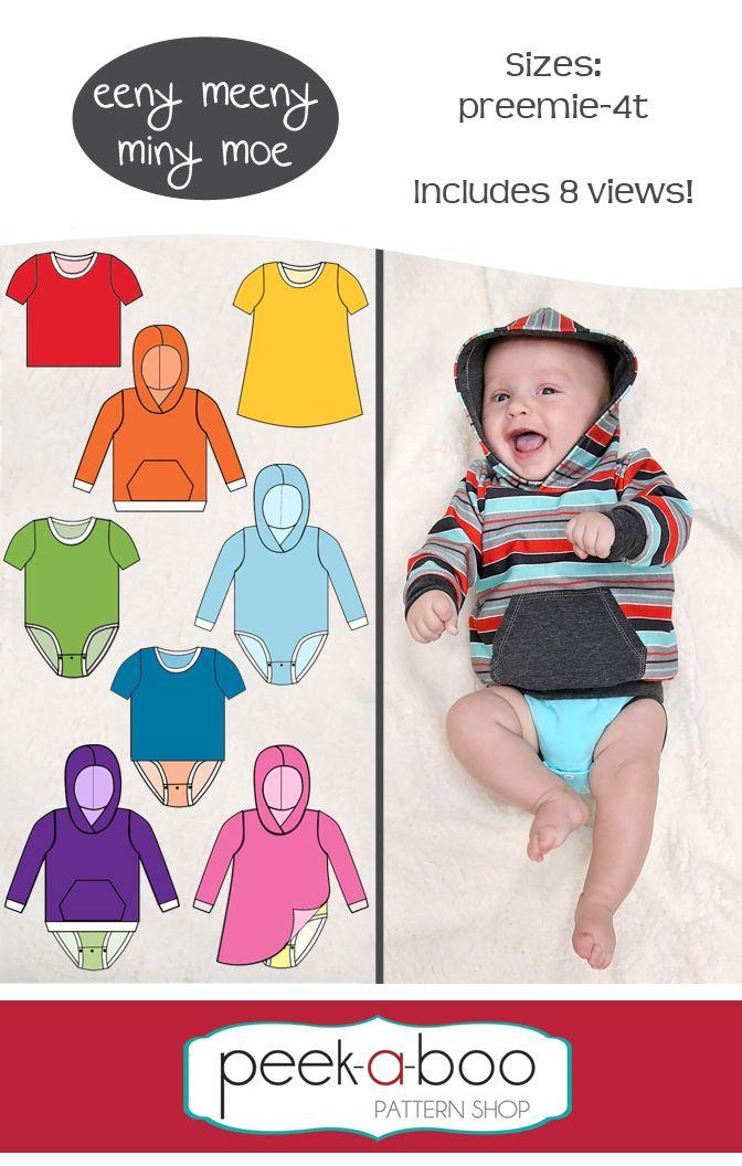 Peek-a-Boo Pattern Shop - Eeny Meeny Miny Moe Bodysuit, $7.95 (http://www.peekaboopatternshop.com/eeny-meeny-miny-moe-bodysuit/)