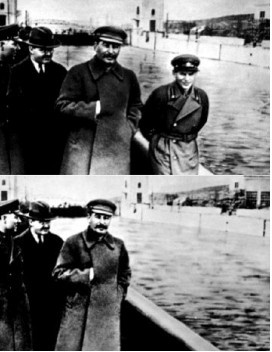 The top photo showed the image of Nikolai Yezhov walking with Stalin. Yezhov was head of the NKVD, an ardent Bolshevik and close confidant. He was arrested and put on trial for suspicion of plotting to assassinate Stalin. Though he pleaded innocence he was sentenced to death and was executed in 1940 in one of Stalin's Great Purges. The bottom photo shows that the image of Yezhov had been airbrushed out