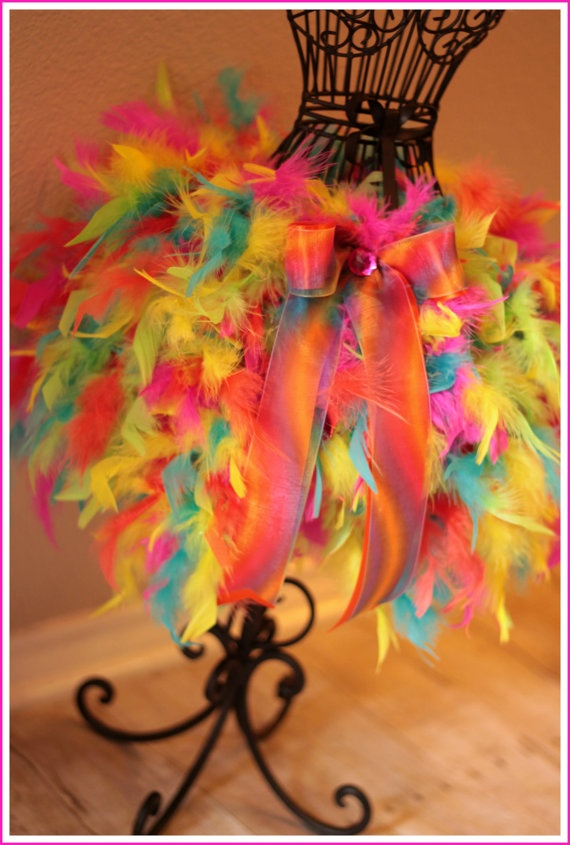 Multi colored Feather tutu. Do in peacock colors for Halloween
