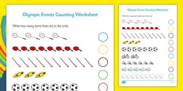 Rio 2016 Olympics Sports Events Counting Activity Sheet