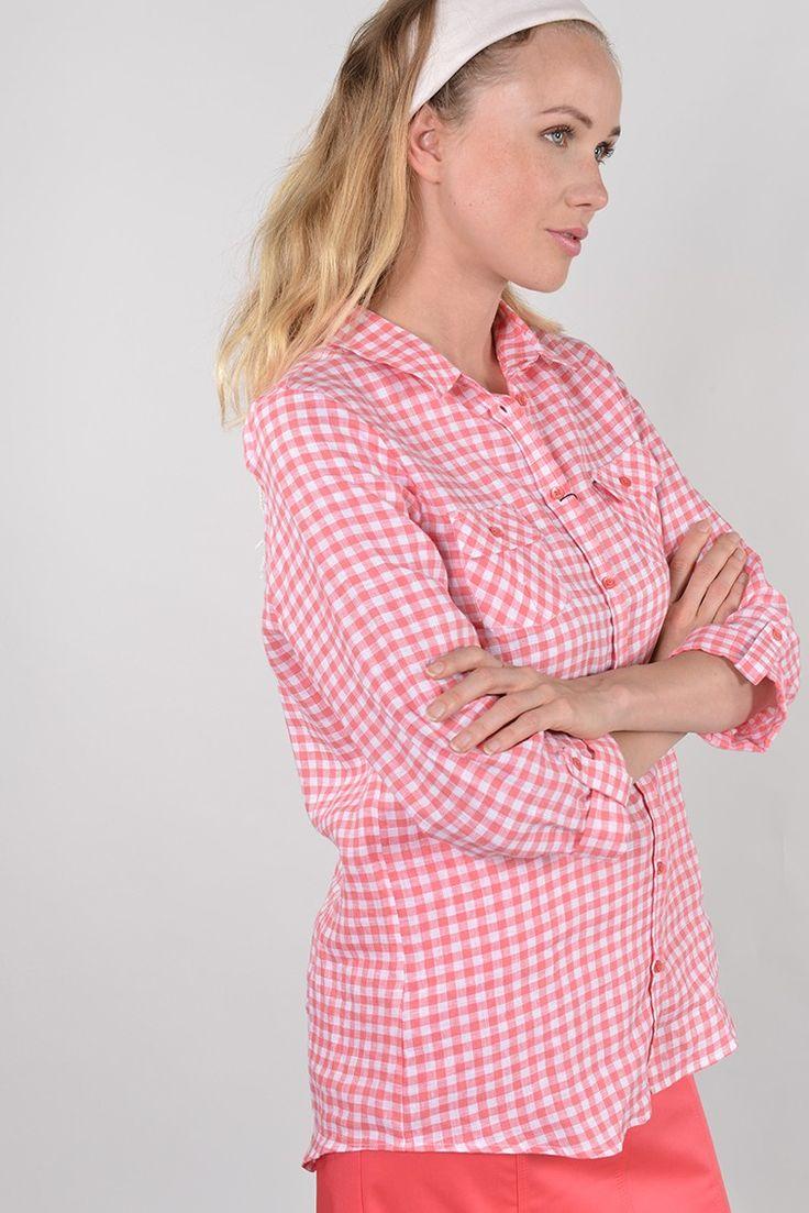Panel bis chemise m3/4 roul - Antonelle Réf : 17CH1936 Chemise femme PANEL BIS, coupe cintrée, col simple, manches longues, à motif carreaux vichy. A associer avec un jeans ou un pantalon en coloris coordonné pour un style BARDOT très sixties. la ceinture en cuir est vendue séparément. #Antonelleparis #clothing #obi #orange #carreau #blanc #lookoftheday #chemise #ceinture #womenswear #fashion #instashop #ss17
