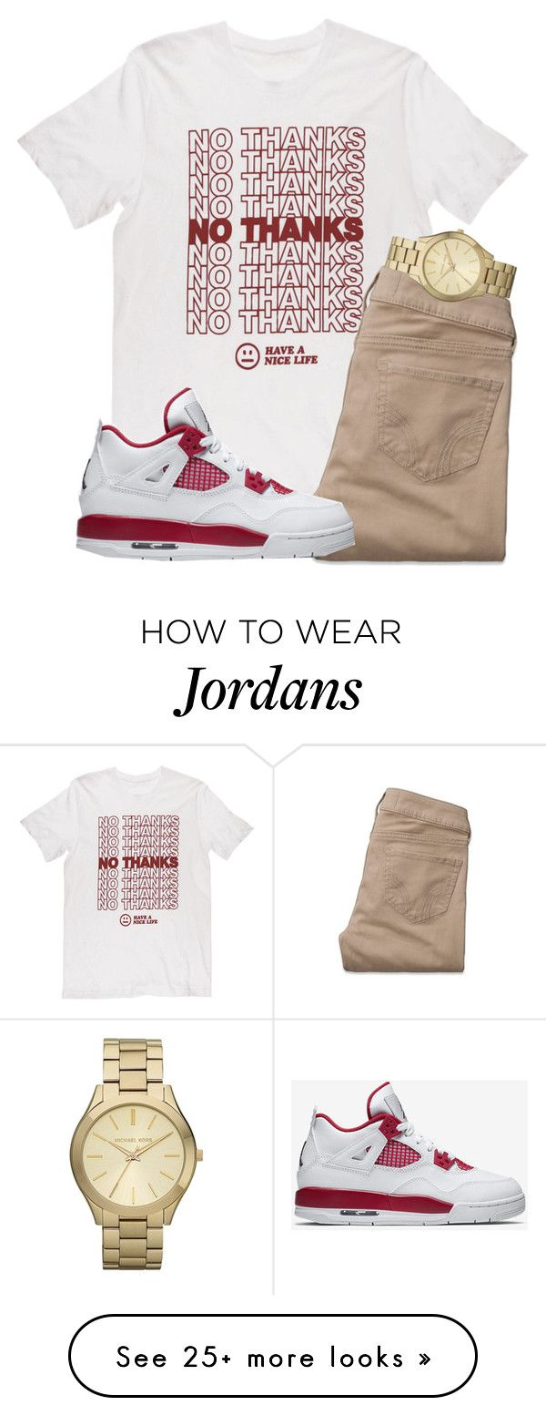 """untitled 113"" by mmapp on Polyvore featuring Hollister Co., NIKE, Michael Kors, michaelkors, jordans and 2017"