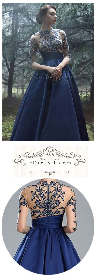 Blue Long Sleeves Embroidery Beaded Evening Gown #eDressit