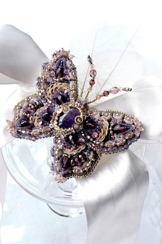 Butterfly brooch with amethyst. Nature by BeadedNatureJewelry, €130.00