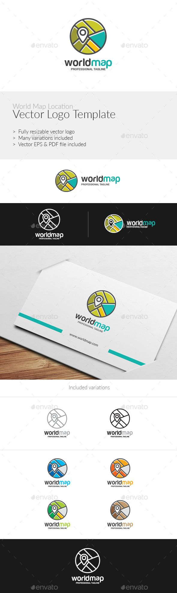 World Map Location Logo Template - Abstract #Logo Templates Download here:  https://graphicriver.net/item/world-map-location-logo-template/19343776?ref=alena994