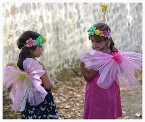 kit de hada DIY. Una varita mágica, alas, corona de flores y polvo de hada. Ideal para cumpleaños o disfraces.