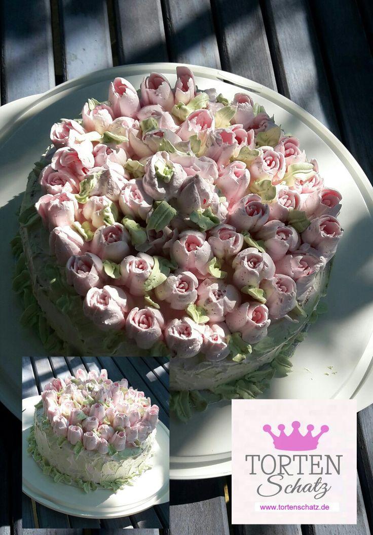 Buttercreme Rose Cake by www.tortenschatz.de