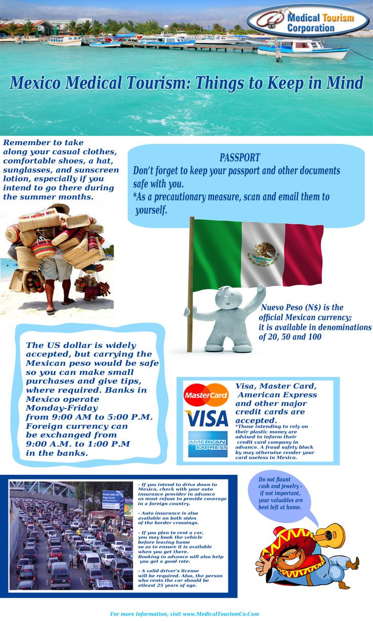 Planning a medical trip to Mexico? Here is an interesting infographic on tips and useful info that will help you plan a smooth and hassle-free trip. We, at Medical Tourism Corporation, will help you in your quest for quality medical care for just a fraction of the US prices.
