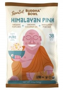 #acnesafe #popcorn Lesser Evil Buddha Bowl Himalayan Pink. Made from organic coconut oil, pink Himalayan salt, and organic popcorn, purify your cravings with this superfood.