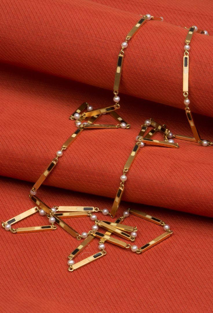 Sireesha Pearl, Black and Ivory Enamel Long Chain - Jewellery / All Jewellery - Parisera