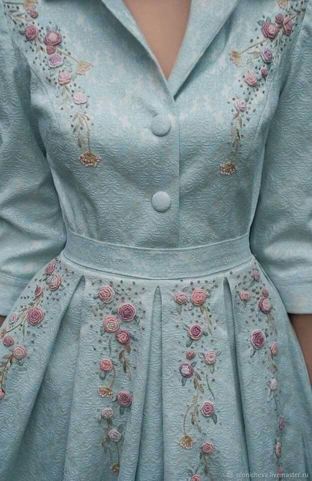 c18c1596a901 This looks like brocade. I love the soft pale aqua tone and the embroidered  floral pattern o… | Designs with color and style 2 in 2019…