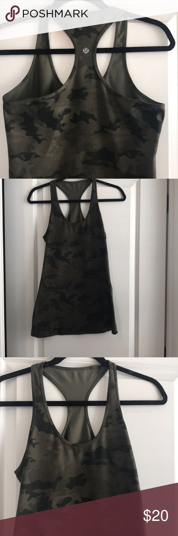 Lululemon long camo tank top! Lululemon dark green camo tank! I took the tag off but I think it's either a size 8 or 10. It is a longer tank and almost in perfect condition. There is one tiny white dot on the front that I never even noticed until I was taking the pictures! lululemon athletica Tops Tank Tops