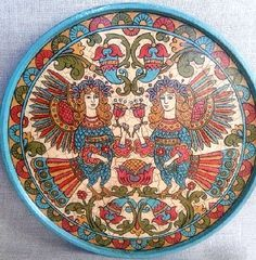 Plate 'Birds Alkonost'. Plate decorative hand-painted in the style of Russian modern