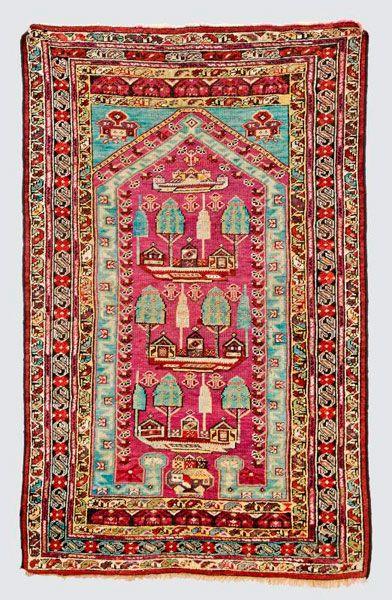 Anatolian-Kirsehir-prayer rug  around 1880, ghiordes-knot, worn, damaged, corrected 166*104 cm