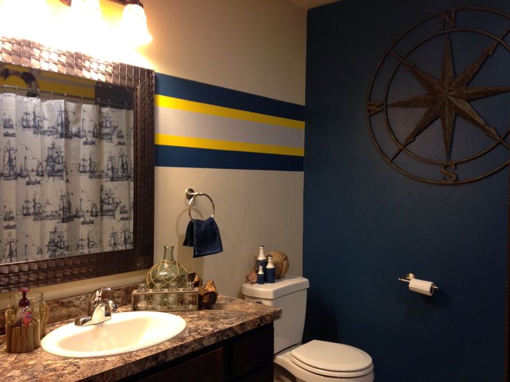 Nautical themed bathroom. | Bathroom mirror, Framed ...