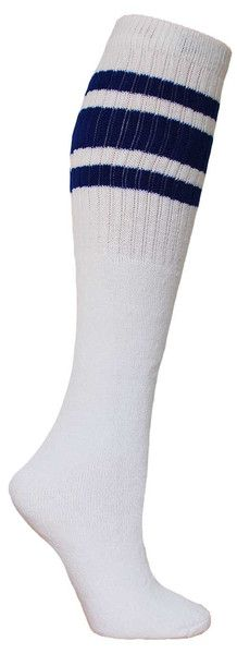 White knee high tube socks with royal blue stripes.  Fits all sizes (no heel).