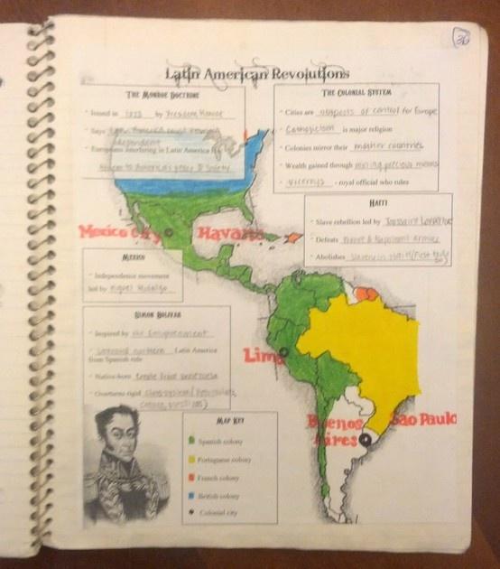 Interactive notebook graphic organizer for Latin American Revolutions. Includes notes on Simon Bolivar, Miguel Hidalgo, Jose de San Martin, Toussaint L'Ouverture, and more.