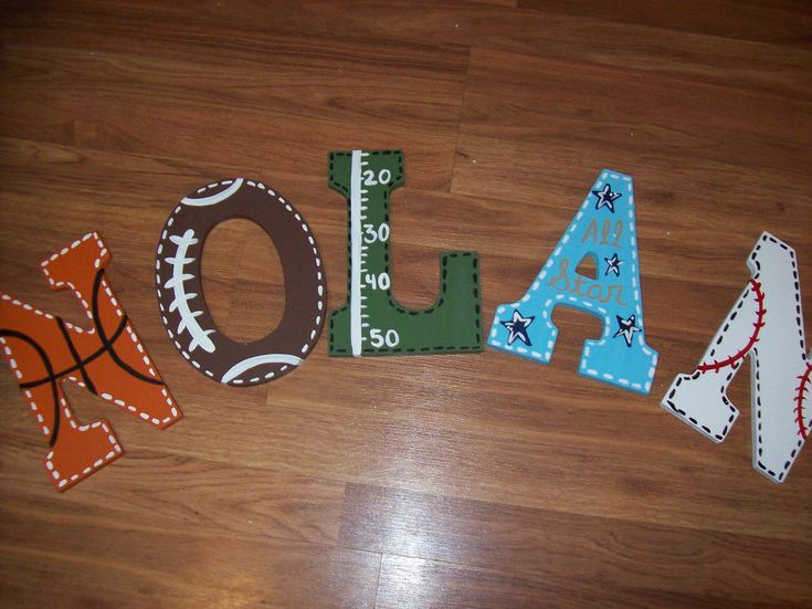 Sports Fan Large Wooden Letters Customized Football Baseball Soccer basketball Hand Painted Boys Birls Bedroom Wall Hanging Door Decor. $10.00, via Etsy.