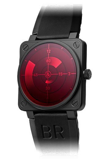 """Bell & Ross Red Radar - Inspired by aircraft cockpits, the """"radar screen"""" display is composed of three black concentric discs. The markings on the external disc indicates the hour, the intermediary disc the minutes, and the central disc, the seconds. A remarkable timepiece for a true aviation fan."""