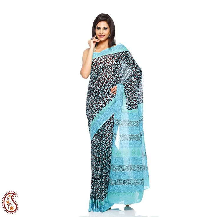 Pure Cotton Blue Leaf Block Printed Saree at Rs 1199