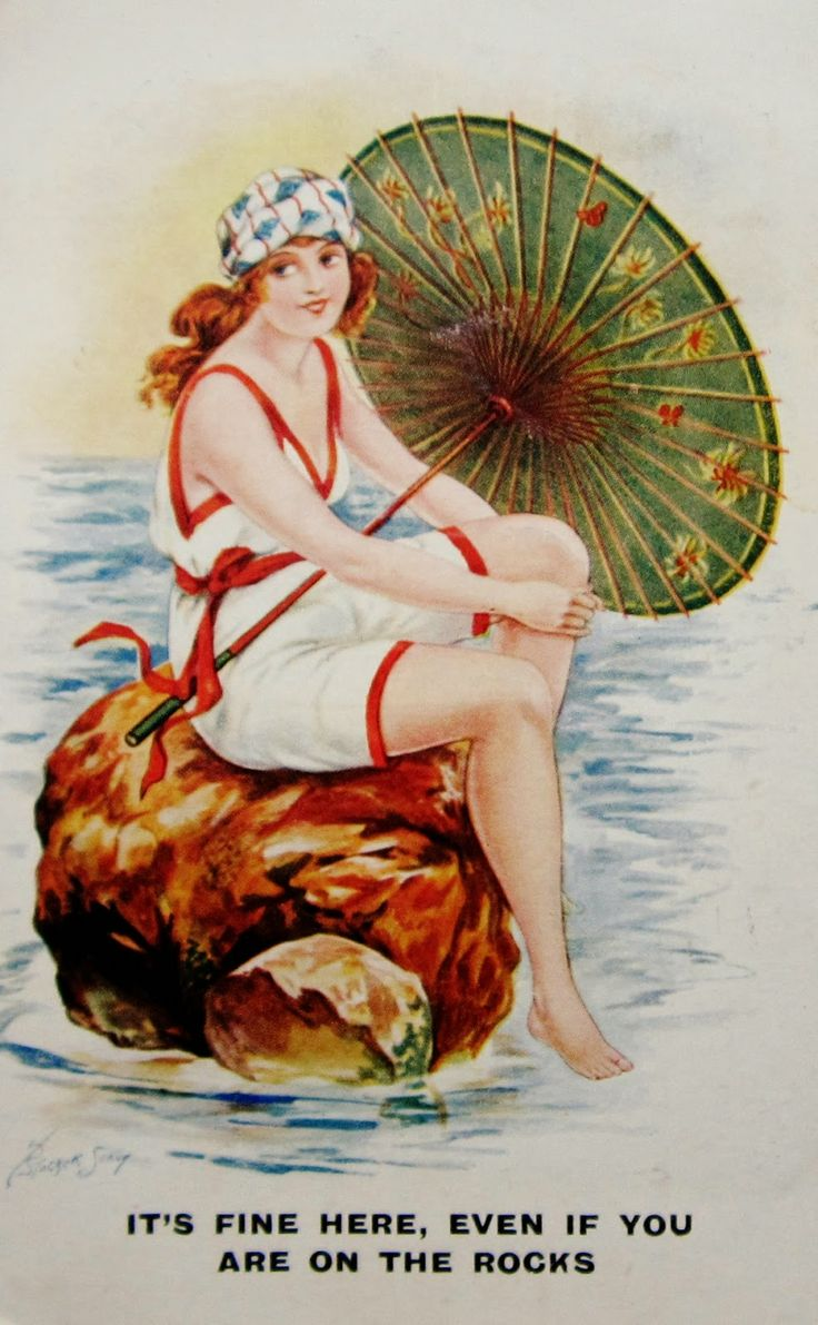 """:It's Fine Here, Even If You Are on the Rocks"""" ~ 1922 Bathing beauty postcard"""
