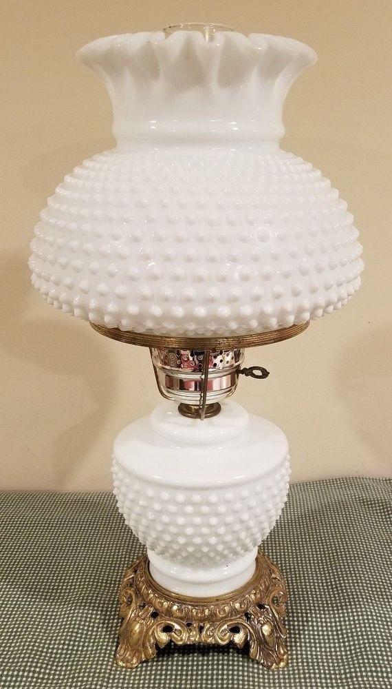 Vintage White Milk Glass Hobnail Gwtw Hurricane Table Lamp