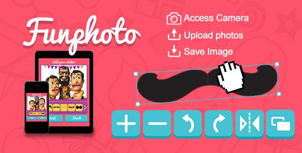 Funphoto (Stickers App) HTML5 Canvas . Funphoto is a HTML5 canvas where you can upload and decorate your photos with