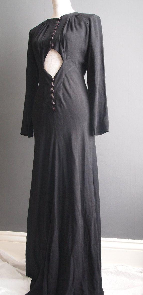 Ossie Clark For Radley black evening gown/cocktail dress/party dress/1960's designer dress/boho dress/high fashion/Ossie Clark dress/LBD