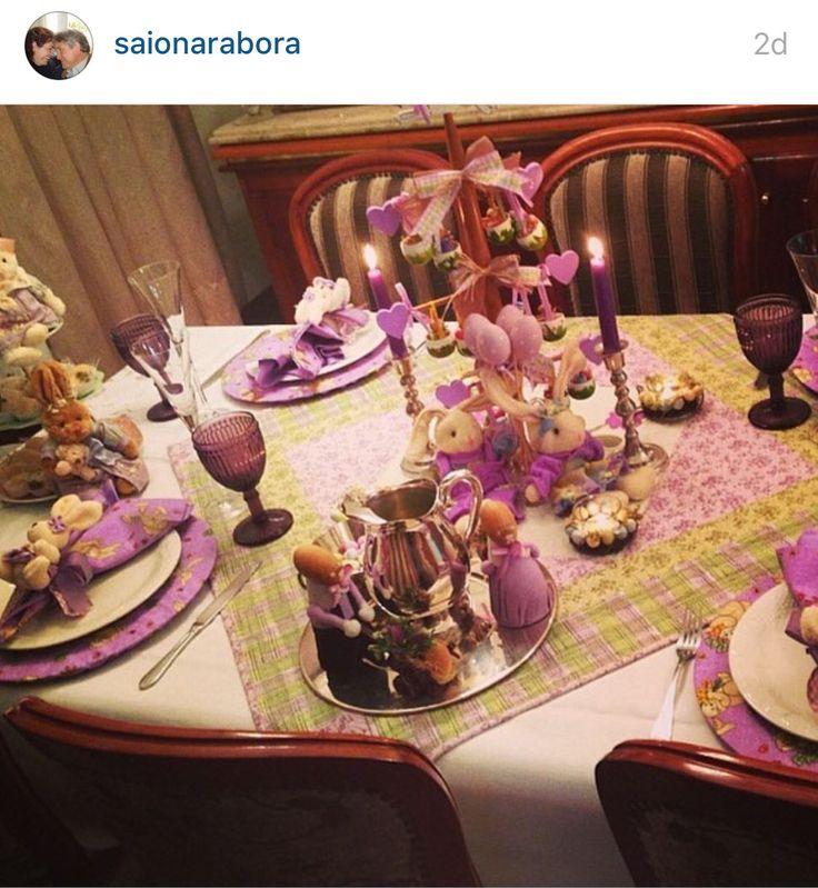Páscoa coelho decoração mesa patchwork copos roxo verde