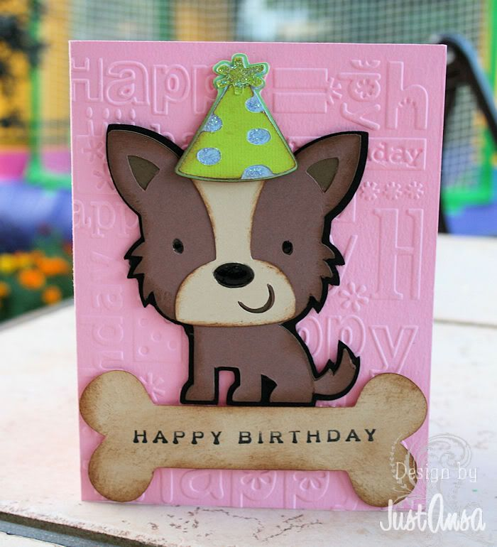 Bday card using Create a Critter & Doodle Charm - Cards. - Cricut Forums- Ohhhh I have the cartridge and the embossing folder... I wanna make this... sooo cuuuute!