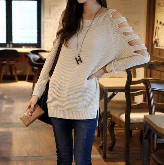 Women's Cutout Shoulder Sweater