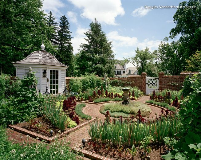 Traditional Potager Kitchen Garden in Colonial Williamsburg Style with Potting Shed and Brick Wall
