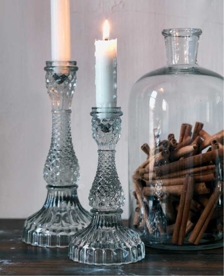 Bella Glass Candle Holder - fabulous vintage inspired clear + colored glass candle holder for tapers and dinner candles