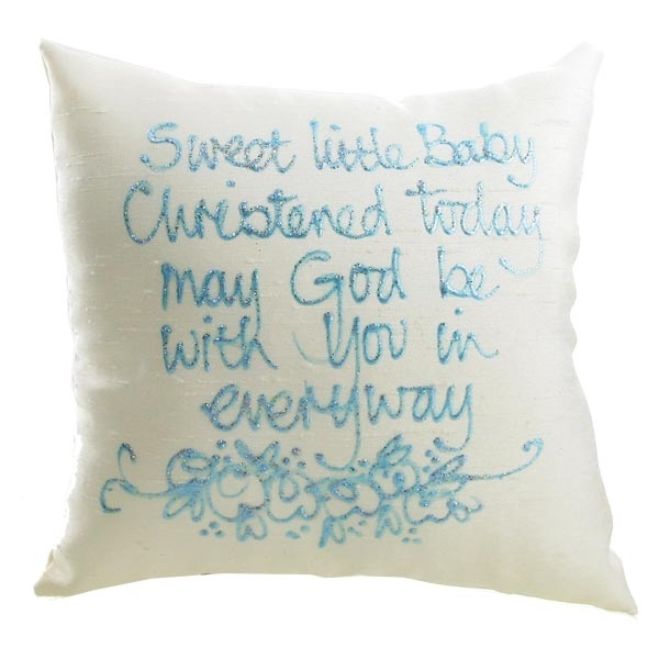 Sweet Little Baby Boy Christened Silk Painted Cushion - Special designs for that personal touch.