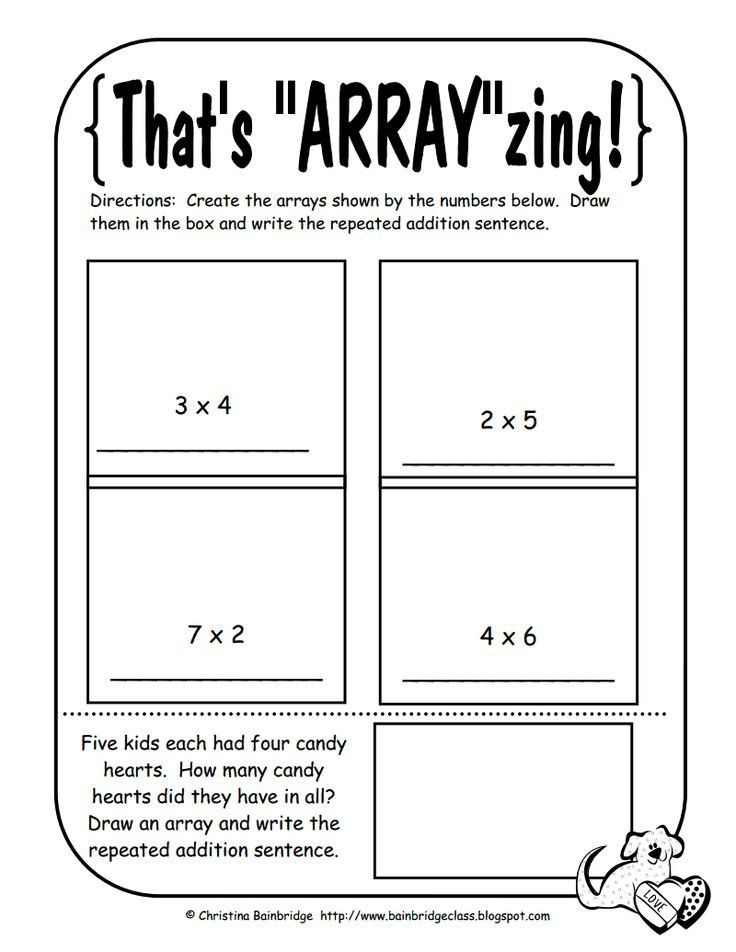 Array Math Worksheets Math Arrays Worksheets Mon Worksheets Multiplication Math Lessons Math School Repeated Addition