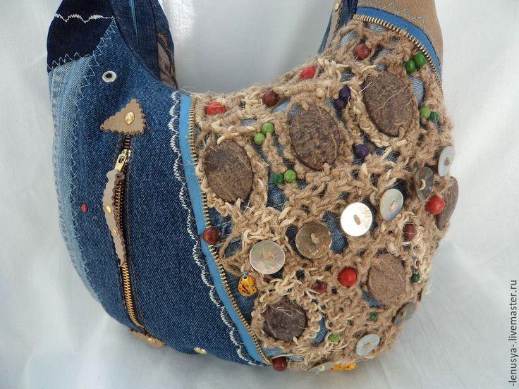 """Купить Двусторонняя джинсовая сумка """"КИЛИМАНДЖАРО"""" - синий, абстрактный, сумка деним, джинсовая сумка, деним"""
