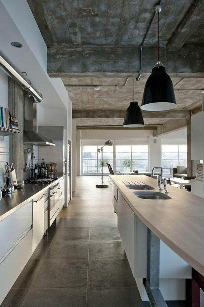 carrelage interieur, cuisine loft avec grandes lampes noires ilot de cuisine central