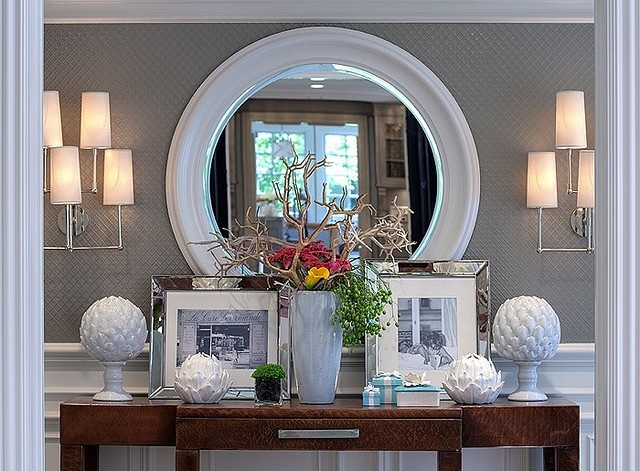 LoveMirrors, Entry Way, Dining Room, Glasses Tile, Decor Ideas, Consoles Tables, Tables Display, Entryway Decor, Homes