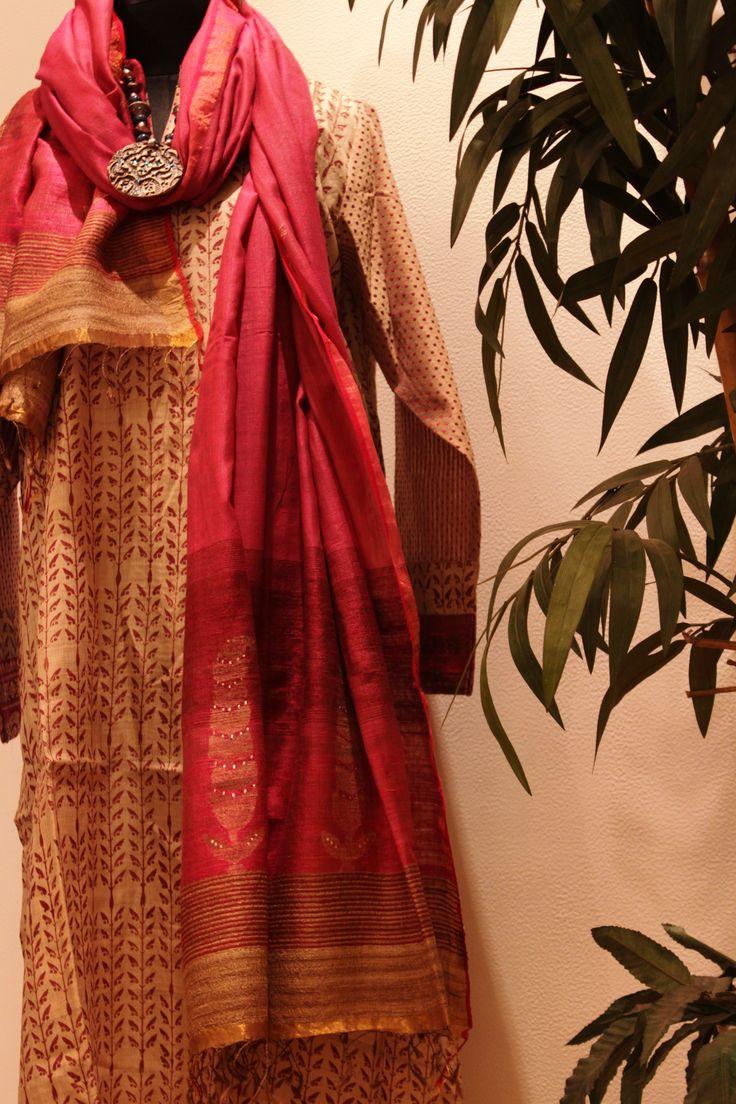 Tussar Silk Salwar Suit Set