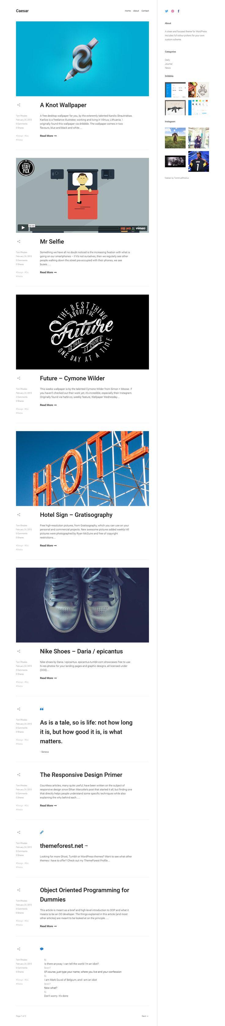 Caesar - A Clean and Focused WordPress Blog Theme #web #wordpress Demo and Download: http://ksioks.com/portfolio/caesar-a-clean-and-focused-wordpress-blog-theme/