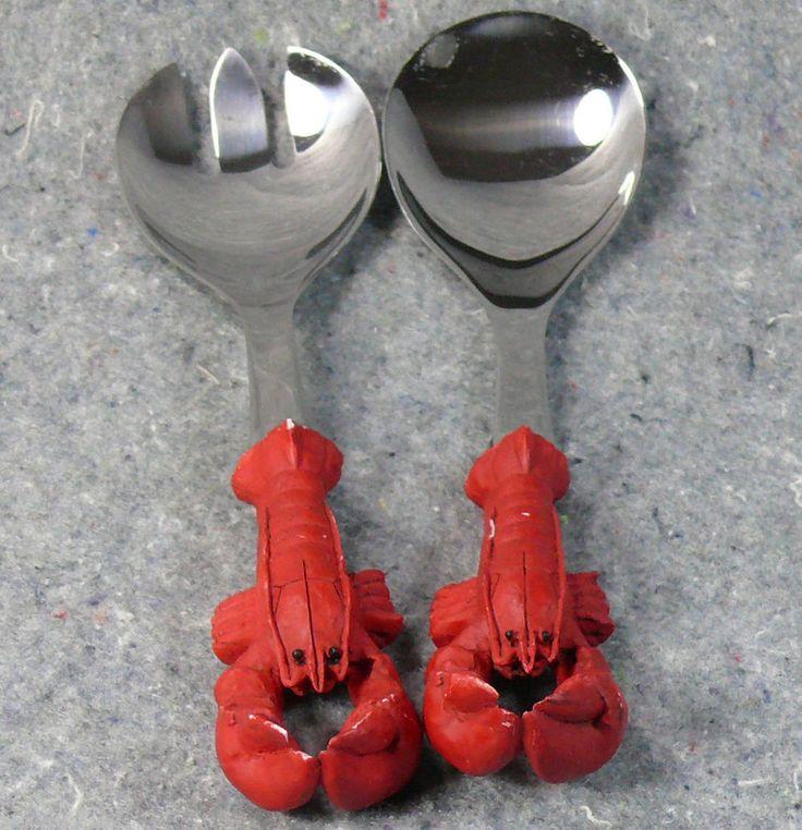 Great for crab salad! Lobster Claw Salad Serving Fork Spoon Set Stainless Steel #lobster #servingforkspoon