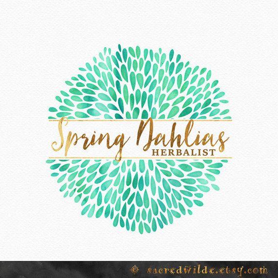 Mint Dahlia Logo Design , Floral Logo , Flower Logo , Spring Flowers , Spring Logo , Mint Logo , Mint and Gold , Circle Logo