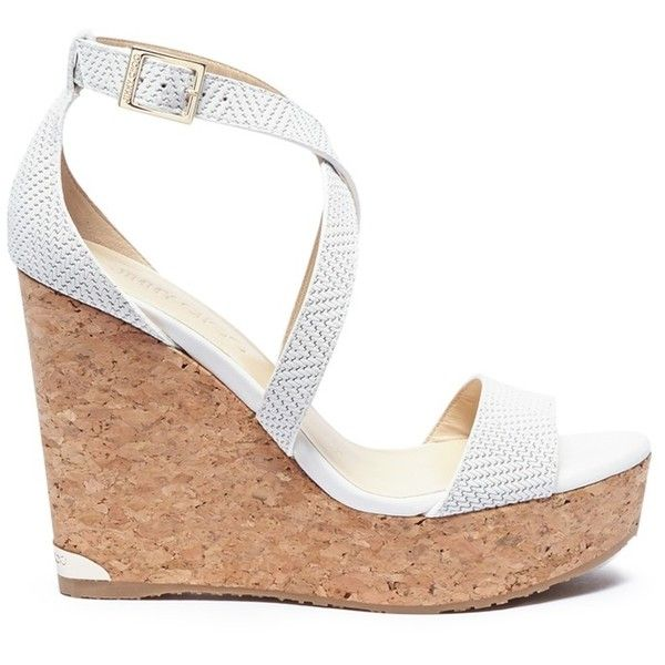Jimmy Choo 'Portia 120' cross strap cork wedge embossed leather... ($560) ❤ liked on Polyvore featuring shoes, sandals, white, cross strap sandals, leather shoes, white summer sandals, cork wedge sandals and leather sandals