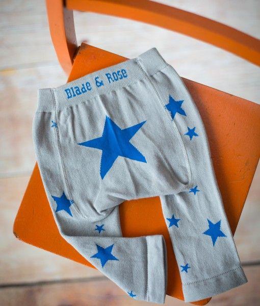Marl Grey Leggings with Blue Stars