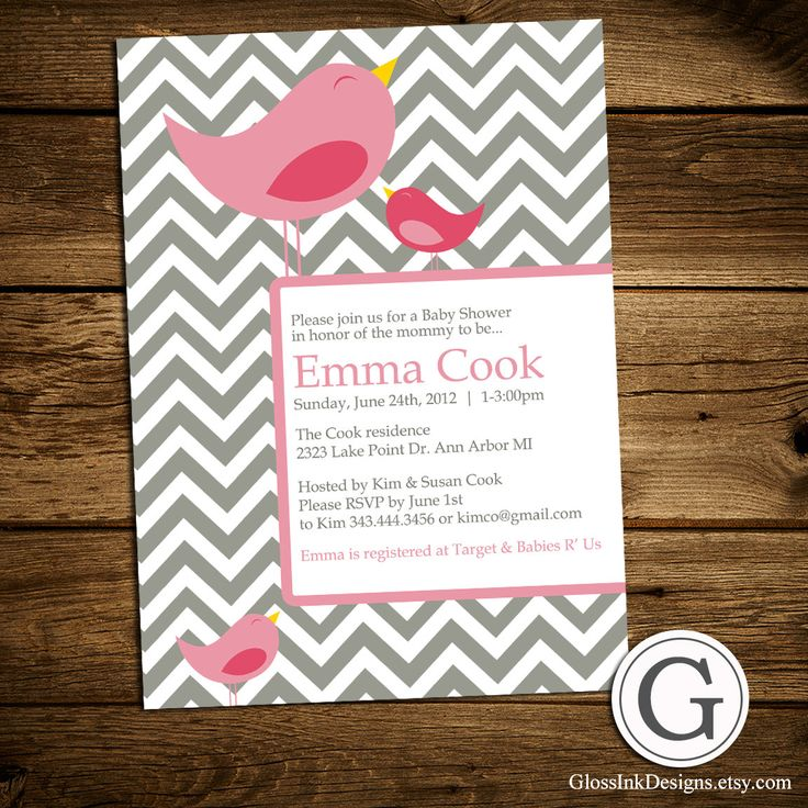 clever baby shower invitation wording%0A Baby Shower Invitation  Girl  Boy or Twins  Gender Neutral  Birds  Birdies