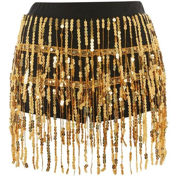 Gold Sequin Fringe Hot Pants by Jaded London ($53) ❤ liked on Polyvore featuring shorts, gold, sequin hot pants, gold shorts, gold sequin shorts, elastic waistband shorts and party shorts