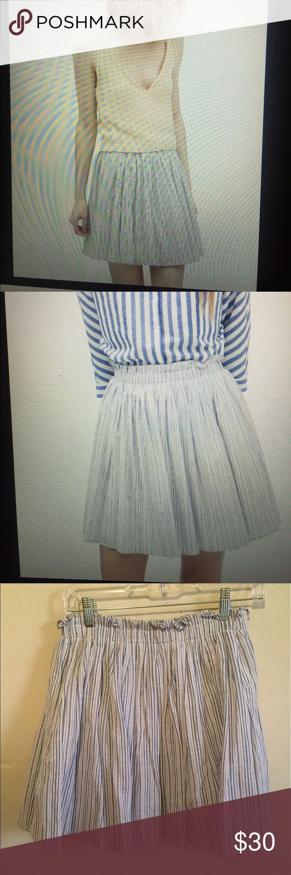Zara stripped short skirt Snall Women's blue and white shirt skirt. Perfect for summer. Elastic waste, fully lined. Size small excellent condition. Zara Skirts Mini